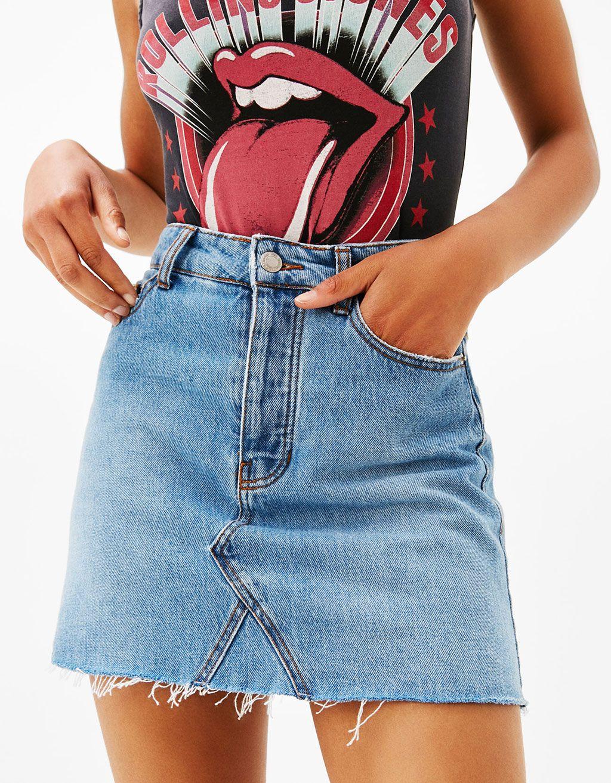 como hacer faldas de jeans viejos 1