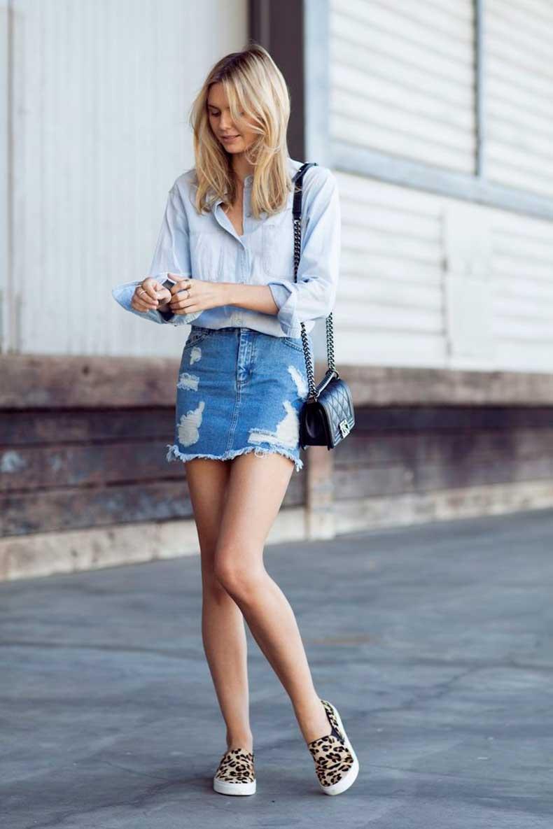 como hacer faldas de jeans viejos 5